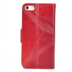 Protective Genuine Leather + Plastic Flip-Open Case w/ Card Slot for Iphone 5 - Brown Red