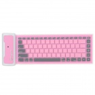 Waterproof Silicone + Plastic Folding Bluetooth V2.0 84-Key Wireless Keyboard - Pink + White + Grey