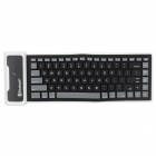 Waterproof Silicone + Plastic Folding Bluetooth V2.0 84-Key Wireless Keyboard - Black + White + Grey
