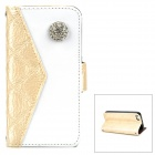 Rhinestone Protective PU Leather Flip-Open Wallet Case w/ Card Slot for iPhone 5 - Light Yellow