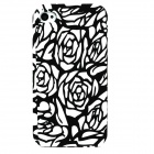 Rose Pattern Protective Front + Back Case for Iphone 4 - Black White