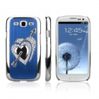 ENKAY Protective Electroplated Diamond Heart-Shape Design Hard Case for Samsung i9300 - Blue