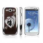 ENKAY Diamond Heart Pattern Protective Plastic Back Case for Samsung Galaxy S3 / i9300 - Brown