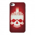 tuoqi L-show Skull Pattern Protective Plastic Back Case for Iphone 4 - Deep Red + White