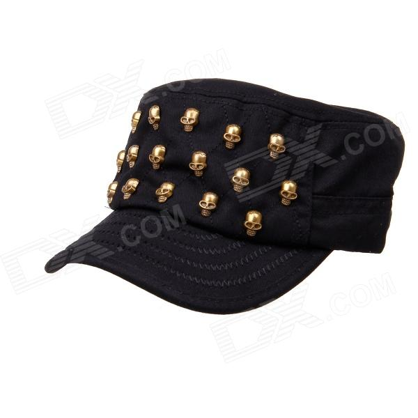 Cool Skull Rivets Flat Top Cap Hat - Black (50~62cm) military hat flat cap m177