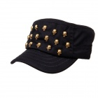 Coole Schädel Nieten Flat Top Cap Hat - Black (50 ~ 62cm)