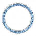 YB032908 One-Key Engine Start / Stop Chrome Rhinestone Decoration Ring - Silver + Blue