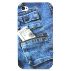 Jeans Pattern Protective Front + Back Case for Iphone 4 - Blue