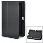 Magnetic Litchi Grain Protective PU Leather Case w/ Holder for Asus TF600 - Black