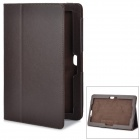 Magnetic Litchi Grain Protective PU Leather Case w/ Holder for Asus TF600 - Dark Brown