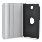 360 Degree Rotatable Litchi Grain Protective PU Leather Case for Samsung Galaxy Tab N5100 - White