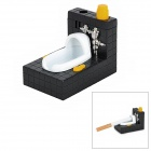 Creative Toilet Style Gas Butane Lighter w/ Bottle Opener - Black + White + Silver