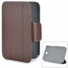 Litchi Grain Protective PU Leather Case w/ Holder for Samsung Galaxy Note 8.0 N5 100 / 110 - Brown