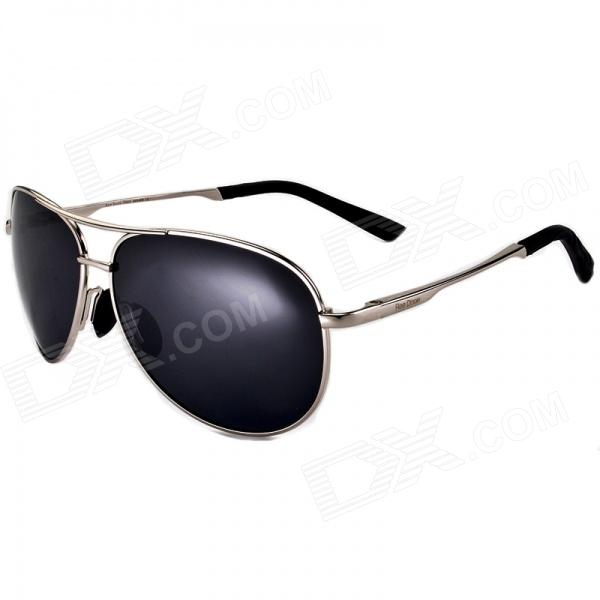 Reedoon 1310 Unisex Polarized Resin Lens UV400 Protection Sunglasses - Silver + Grey reedoon 6488 men s fashionable resin lens uv400 protection polarized sunglasses silver grey