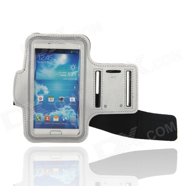 Sporty Diving Fabric Armband for Samsung Galaxy S4 i9500 - Black + Silver