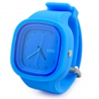 Fashion CZ Diamond Silicone Band Analog Quartz Wrist Watch - Blue
