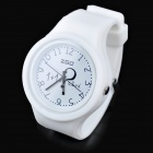 Fashion CZ Diamond Silicone Band Analog Quartz Wrist Watch - White