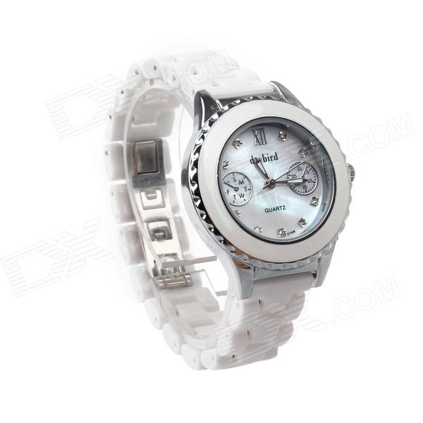 Daybird 3748G Women's Elegant Ceramic Band Quartz Wrist Watch - White + Silver (1 x LR626)
