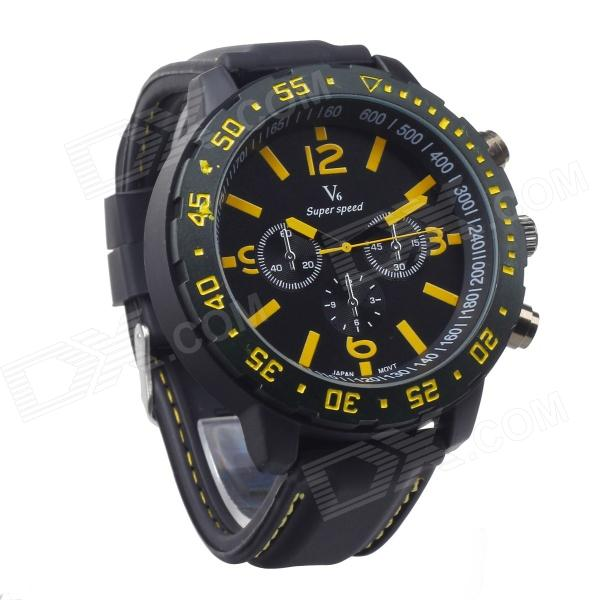 Super Speed Sports Men's Silicone Band Quartz Wrist Watch - Black + Yellow (1 x LR626)