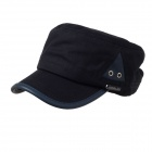 Stylish Triangle PU Breathable Hole Piece Cotton Flat Top Hat Cap - Black (52~60cm)