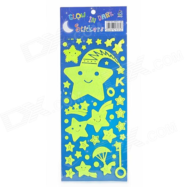 HM-002 Cute Star Pattern Glow-in-the-Dark Home Decorative Stickers - Fluorescent Yellow cute cartoon owl style home decorative glow in the dark stickers bright green
