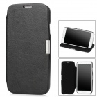 Protective PU Leather Case w/ Holder for Samsung i9500 / Galaxy S4 - Black