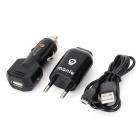 monie 3-in-1 Car Charger + EU Plug Adapter + USB Cable for Samsung / HTC / Blackberry - Black