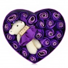 Plush Bear Decoration Heart Style Rose Soap Flower - Purple + Beige