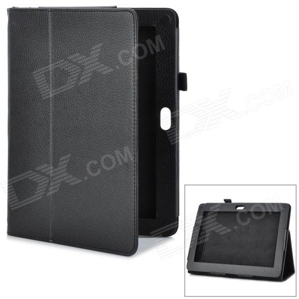 Magnetic Litchi Grain Protective PU Leather Case w/ Holder for Sony Xperia Tablets - Black