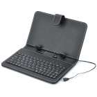 "Protective 80-Key Micro USB Wired Keyboard PU Leather Case w/ Stand / Stylus for 7"" Tablet - Black"
