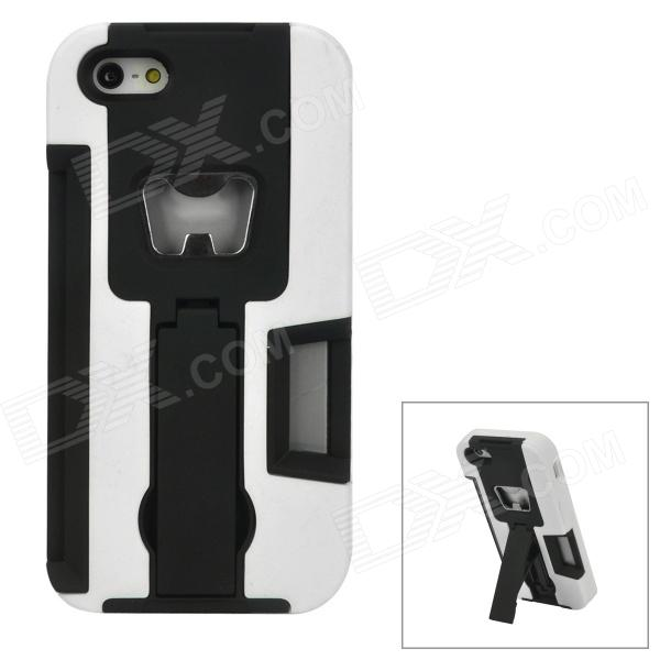 Three-in-one TPU Protective Back Case w/ Holder & Bottle Opener for Iphone 5 - White + Black