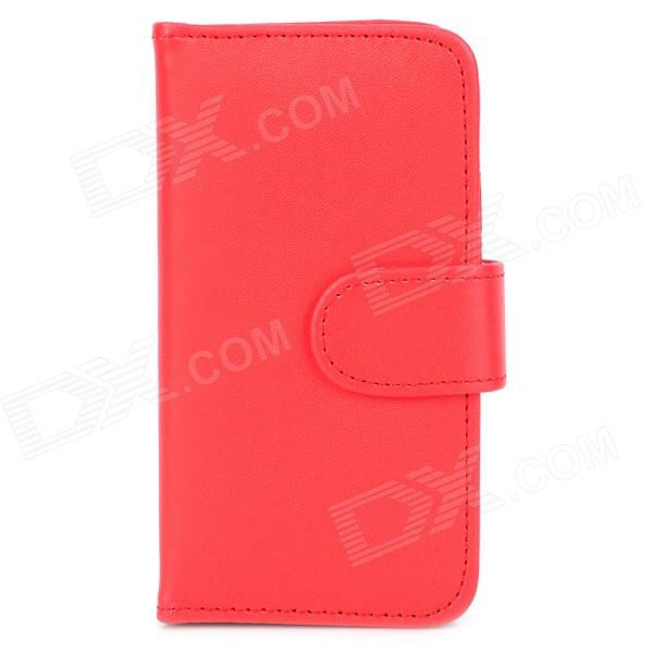 Protective PU Leather Flip-Open Case w/ Card Slot & Magnet for Iphone 5 - Red protective flip open pc pu leather case w holder card slot for iphone 5 5s black