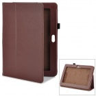 Magnetic Litchi Grain Protective PU Leather Case w/ Holder for Sony Xperia Tablets - Brown