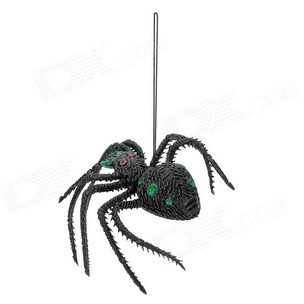 03 Scary Halloween Lifelike Silicone Spider Toy - Green + Black
