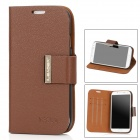 Protective PU + Plastic Flip-open Case w/ Stand for Samsung i9500 - Brown