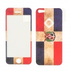 Dominica National Flag Screen Protector + Back Sticker for Iphone 5 - Red + White + Blue + Green