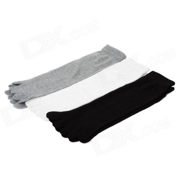 Outdoor Sports Five-Toe Cotton Socks - Black + White + Grey (Free Size / 3 Pairs)