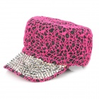 Fashion Denim + Sequins Beads Lady's Cap Hat - Silver + Deep Pink