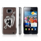 ENKAY Diamond Heart Pattern Protective Plastic Back Case for Samsung Galaxy S2 / i9100 - Brown