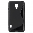 """S"" Style Protective TPU Back Case for LG Optimus F7 - Black"
