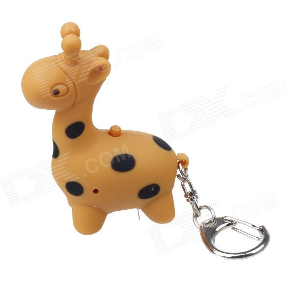 Cute Giraffe Style White Light LED Keychain w/ Sound Effect - Earth Yellow (3 x AG10)