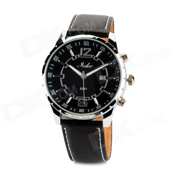 HAIBO 6311-B Men's Stainless Steel Matte Leather Band Quartz Analog Wrist Watch - Black + Silver new bulb vlt hc7000lp lamp with housing for mitsubishi hc6500 hc7000 180day warranty