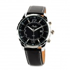 HAIBO 6311-B Men's Stainless Steel Matte Leather Band Quartz Analog Wrist Watch - Black + Silver