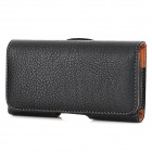 Lychee Pattern Protective PU Flip-open Waist Bag Case for Samsung i9082 / i9080 - Black