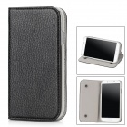 Lychee Pattern Protective PU Case w/ Mini Suction Cup + Holder for Samsung Galaxy S4 / i9500 - Black