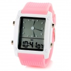 SKMEI 0814G Water Resistant Fashion Analog + Digital Display Wrist Watch - Pink + White (1 x CR2025)