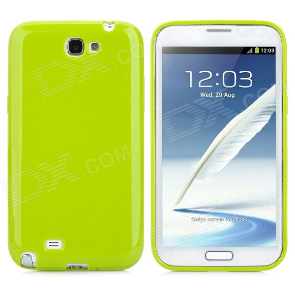 Protective Flexible TPU Back Case for Samsung N7100 - Yellow Green
