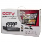 8-CH H.264 Surveillance Network DVR w/ 4 x 480TVL 36- IR LED Cameras Security System - Black (NTSC)