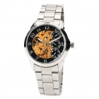 IK 98111 Stainless Steel Mechanical Self-Winding Analog Wrist Watch for Men - Black + Silver
