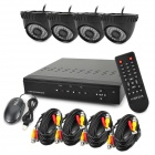 4-CH H.264 Surveillance Network DVR w/ 4 x 480TVL 36- IR LED Cameras Security System - Black (NTSC)